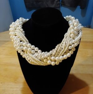 Braided Rope. Faux Pearl/Rhinestone. Necklace.